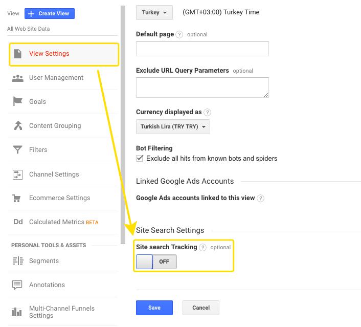 Google Analytics Siteiçi Arama Modülü