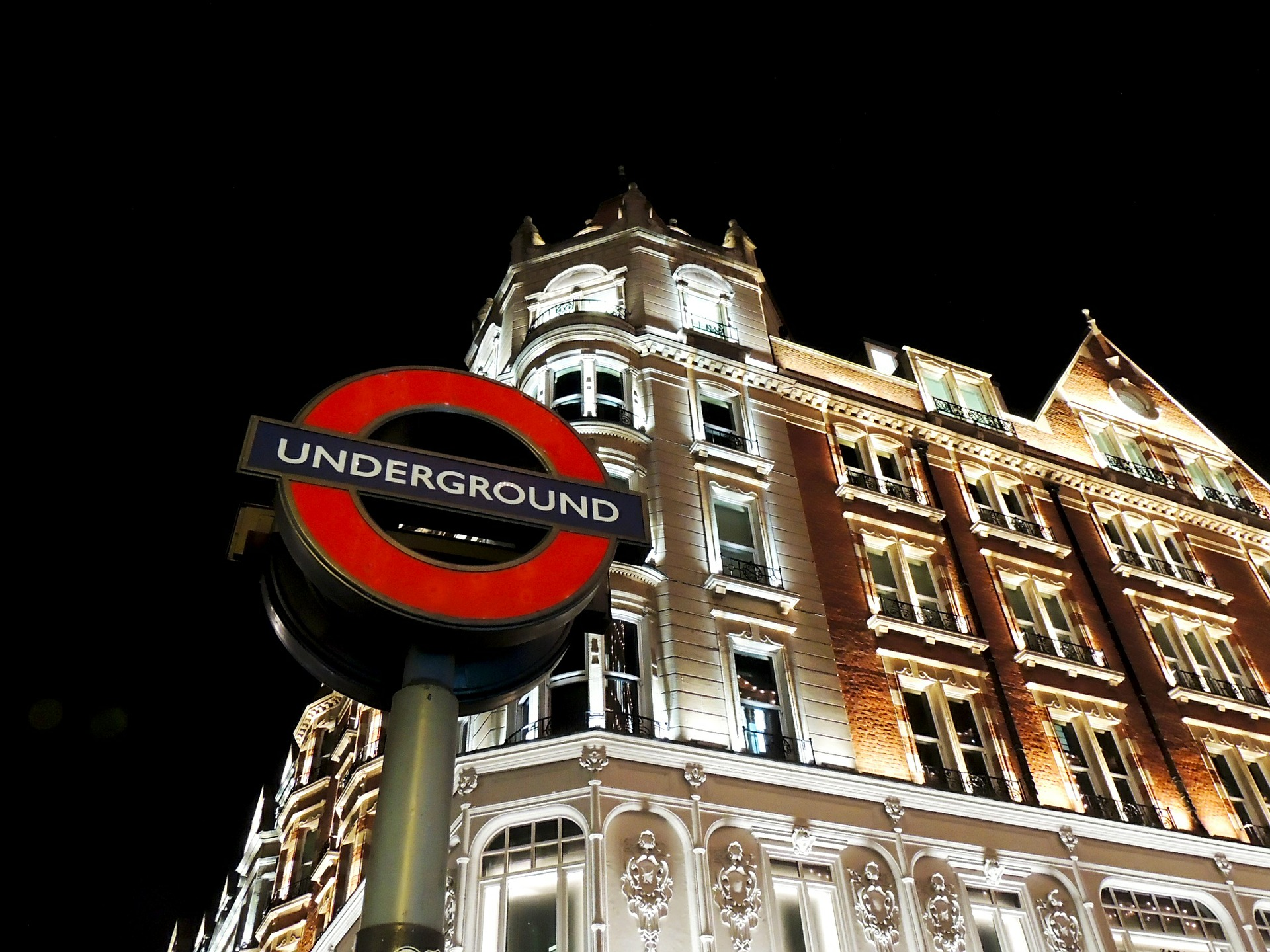 Underground tube for London public transport