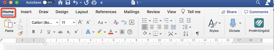prowritingaid word for mac in toolbar