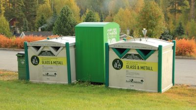 Glass og metall - miljøstasjon.
