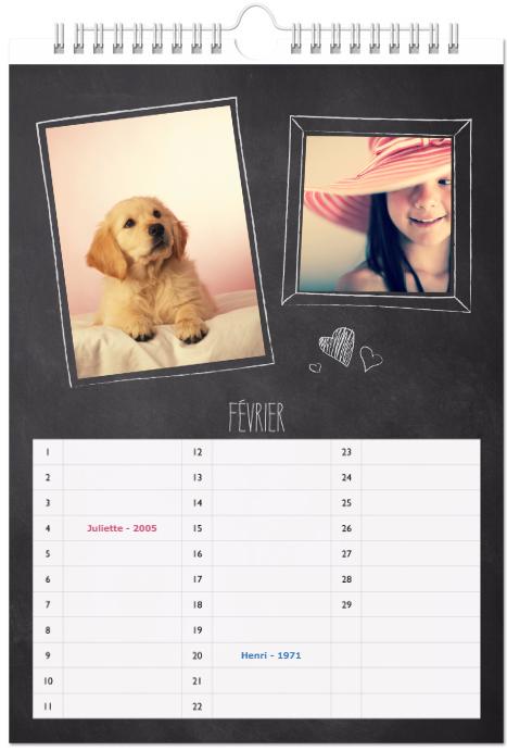 calendrier anniversaire personnalise
