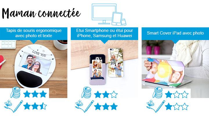 3 idées de cadeau parfait de fête des mères pour la maman connectée. Tapis de souris ergonomique, étuis à smartphones ou smartcover ipad.