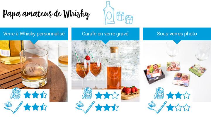 Cadeaux pour Papa qui aime le whisky: Verre à Whisky personnalisé, Carafe en verre gravé, Sous-verres photo
