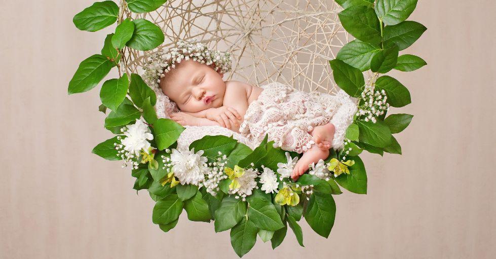 Photos de bébé professionnelles: un nouveau-né endormi est couché dans une couronne de feuilles et fleurs.