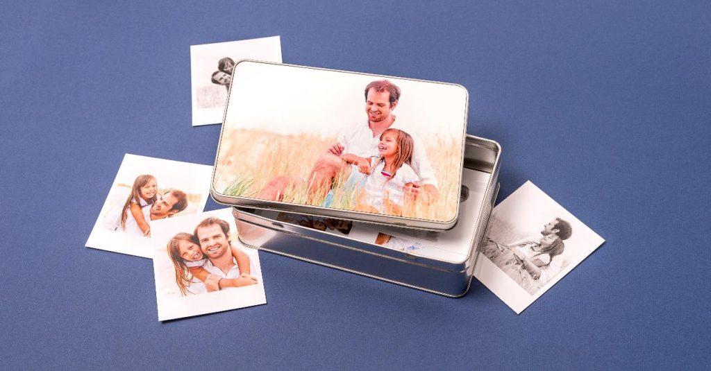 Idee cadeau Papa: Boite à biscuit en métal, avec photo imprimée sur le dessus.