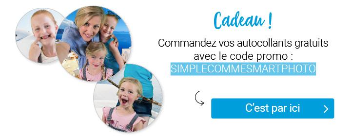 Cadeau ! Commandez vos autocollants gratuits avec le code promo simplecommesmartphoto. Cliquez sur l'image et le code s'appliquera automatiquement !