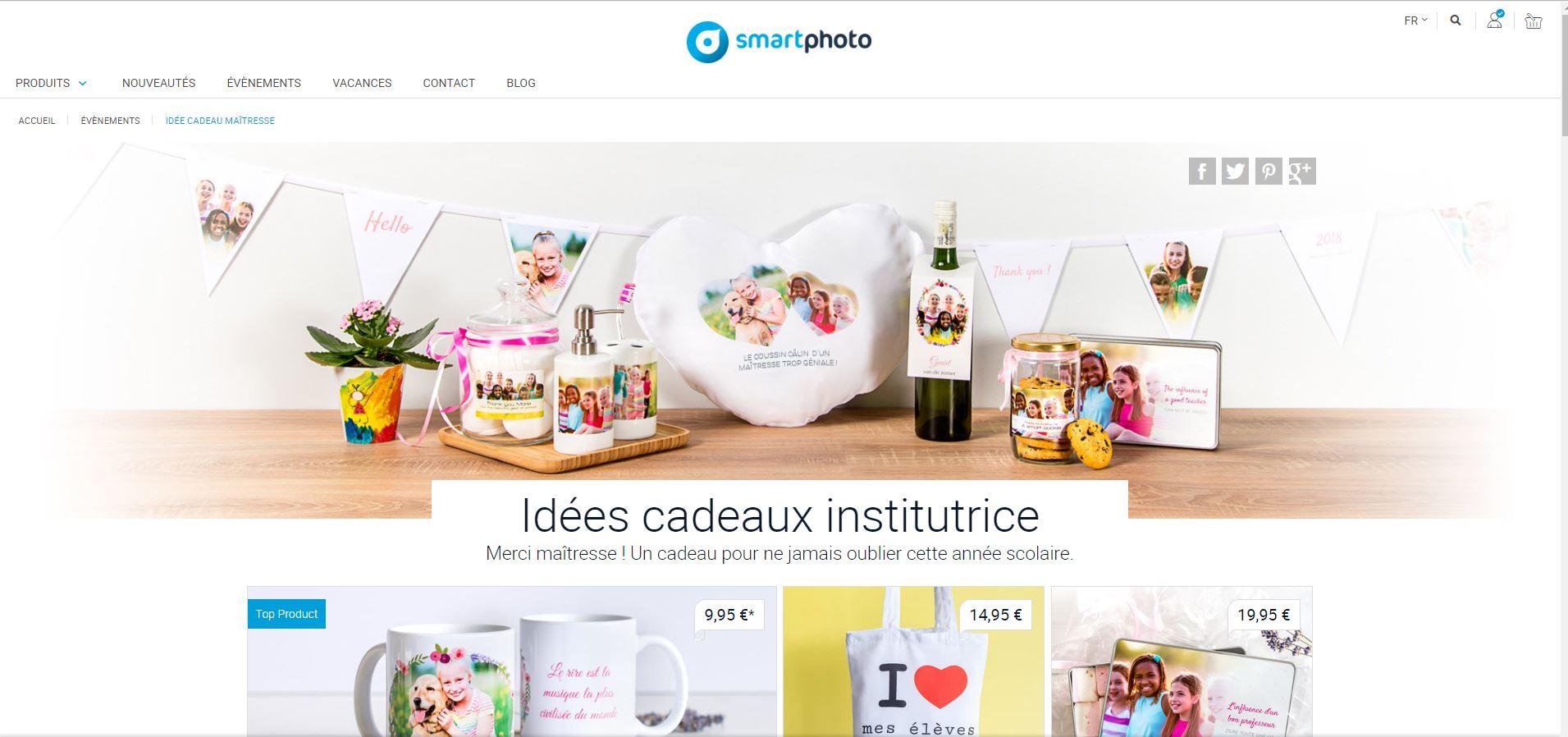 """Aperçu de la page de la campagne """"cadeaux pour professeurs et institutrices"""""""