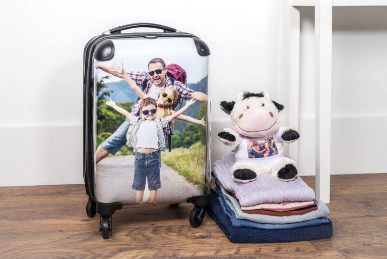 Koffer und Kuscheltier personalisiert mit Foto