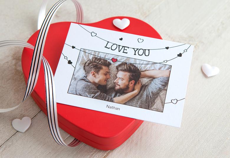 textes d'amour - Carte postale romantique