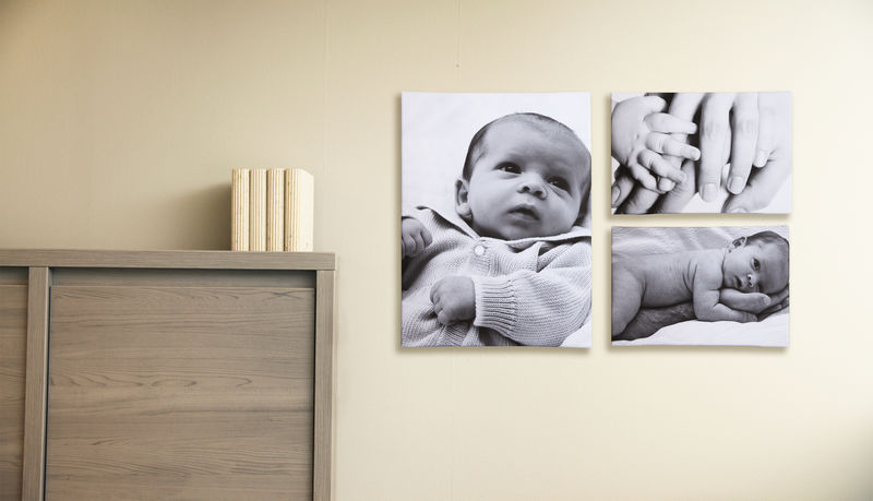 """""""Première fête des mères"""" Photo de bébé imprimé sur toile sous forme de pêle-mêle"""