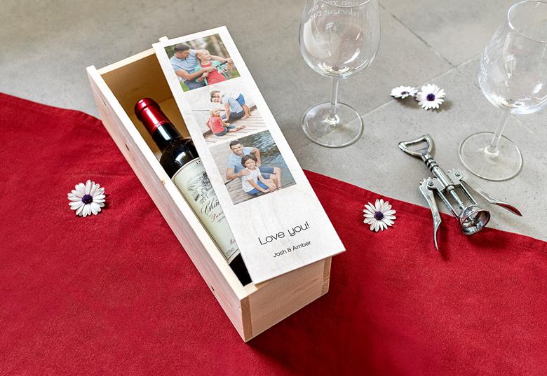 Couvercle coulissant en bois avec photo et texte personnalisés