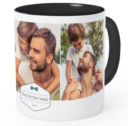 Offrez en cadeau à votre papa , le mug personnalisable couleur noir, design bowtie