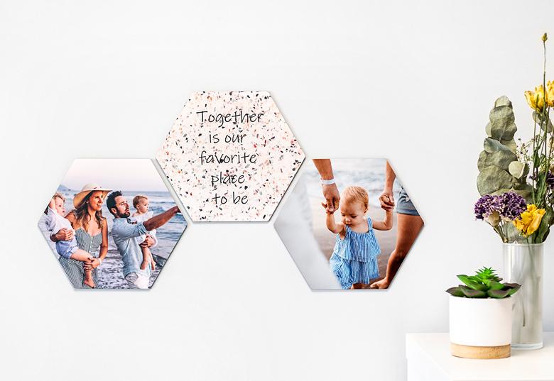 Première fête des mères, décoration murale Hexagone alu