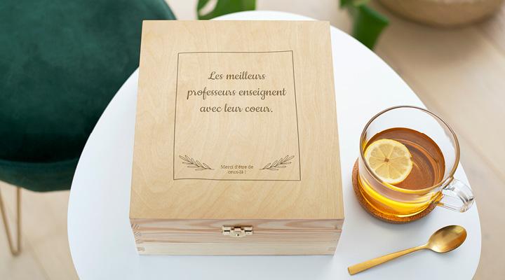 Boite à thé personnalisable à offrir en cadeau à sa maîtresse ou son maître