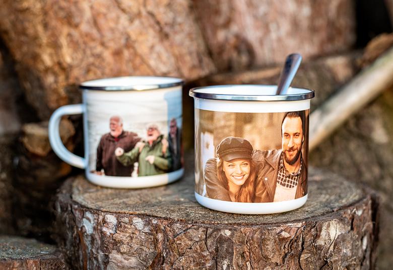 Mug émaille personnalisable à offrir pour la fête des pères.