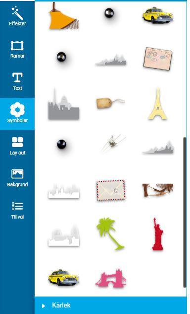 Symboler i din Fotobok