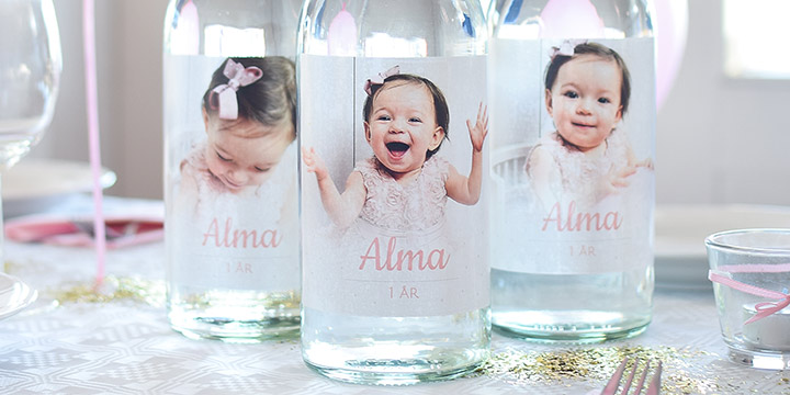 Flaskettiketter födelsedagskalas