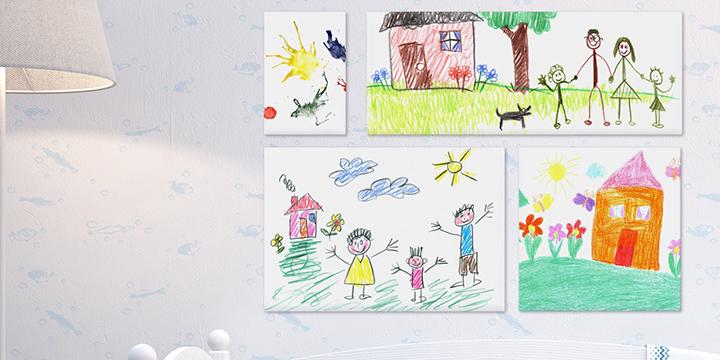 Skapa canvastavlor av barnens teckningar
