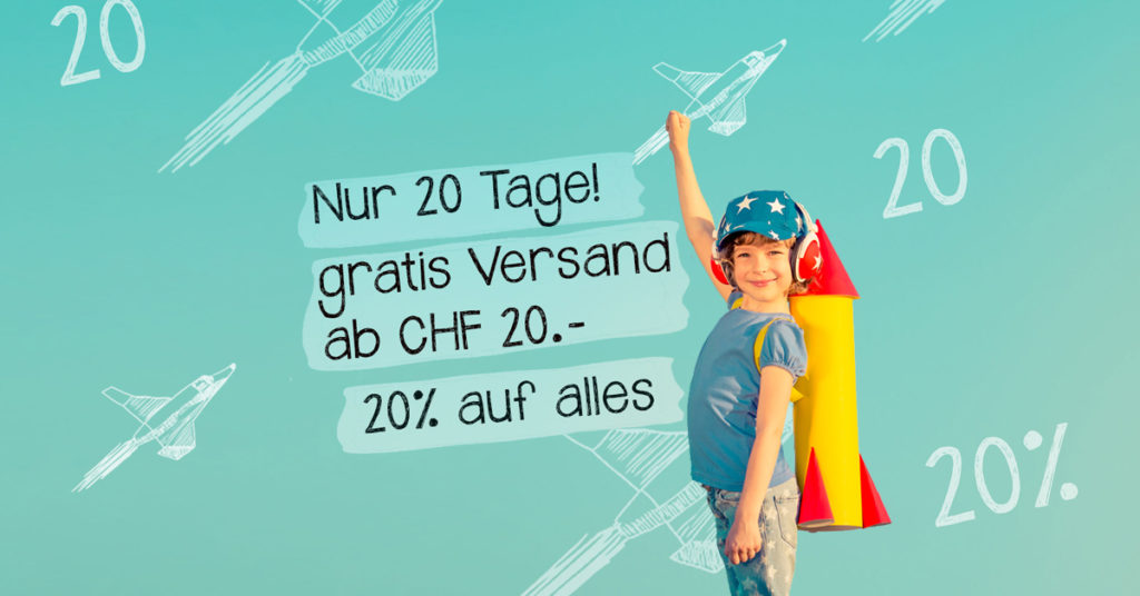 20 Tage lang 20% Rabatt ab einem Bestellwert von 20 Franken