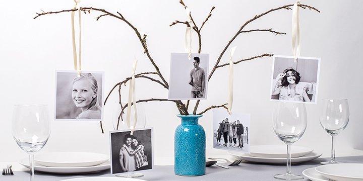 Fotobaum als Tischdeko