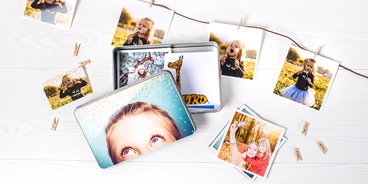 Keksdose mit Fotos im Retro-Stil
