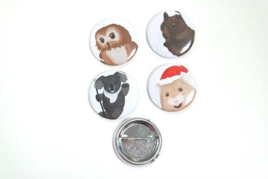Foto-Buttons mit Tiermotiven