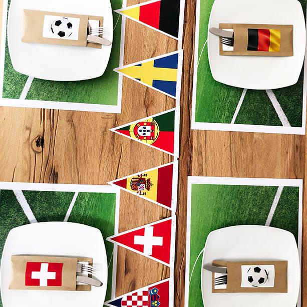 WM-Tischdeko mit Flaggen-Girlande