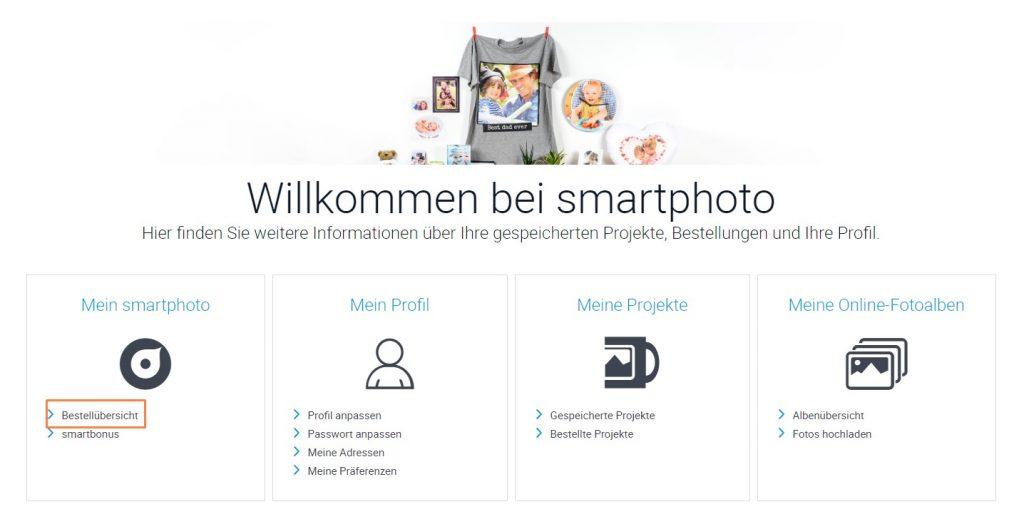 """Bestellübersicht im Kundenkonto """"Mein smartphoto"""""""
