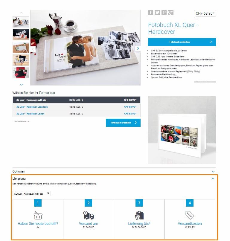 Produktseite Fotobuch XL mit Lieferungsangaben und Versandkosten
