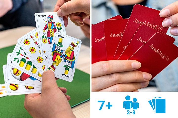 Personalisierte Jasskarten mit Text und Icons