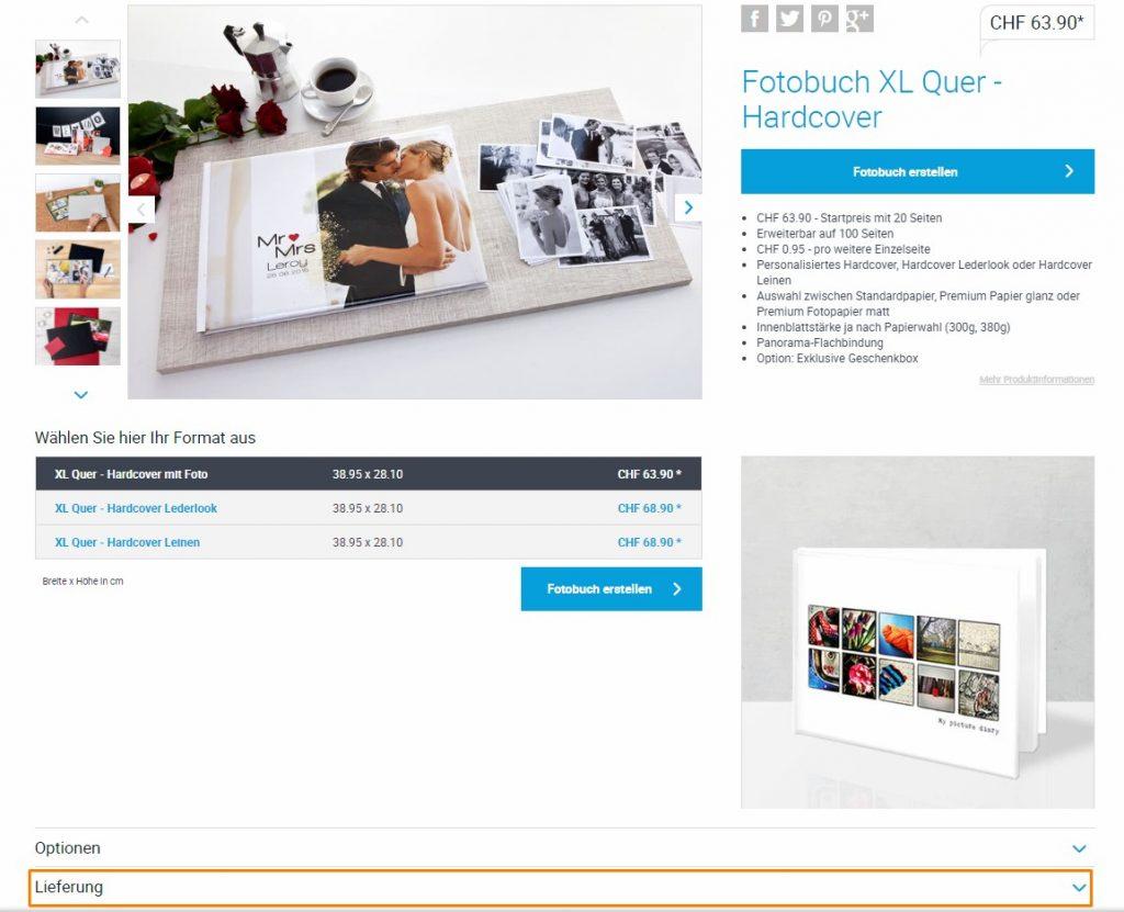 Produktseite Fotobuch XL