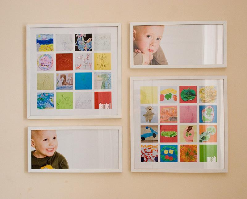 Bilderrahmen mit Kinderfotos und Kinderzeichnungen