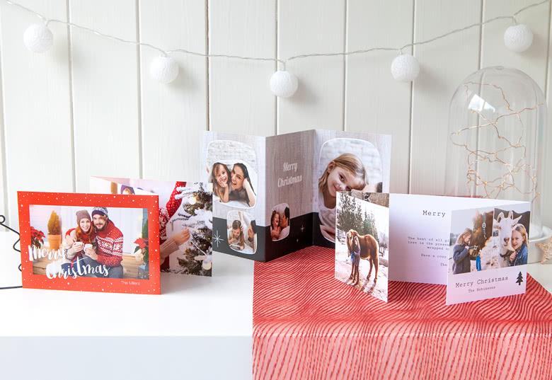 Doppelt gefaltete Weihnachtskarten mit Foto
