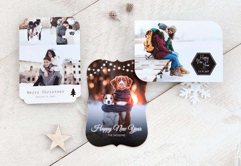 Weihnachtskarten in kreativen Formen mit Foto