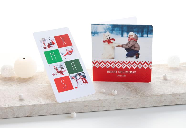 Weihnachtskarten mit abgerundeten Ecken personalisiert