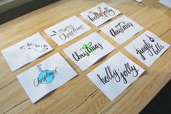 Weihnachtsmotive und Handlettering