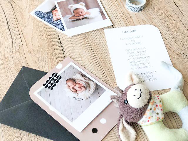 Geburtskarte mit Retro-Foto