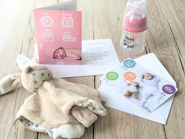 Babykarten mit Symbolen