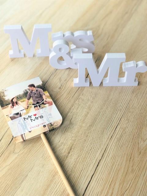 Hochzeitsprogramm-Fächer mit Foto