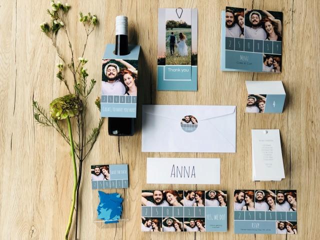 Personalisierte Hochzeitspapeterie mit Datum und Foto