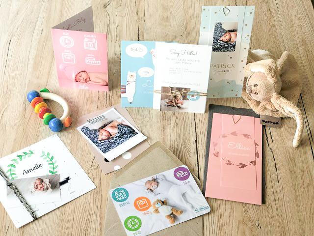 Personalisierte Babykarten