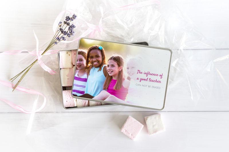 Alubox personalisiert und gefüllt mit Leckereien als Abschiedsgeschenk für Lehrer