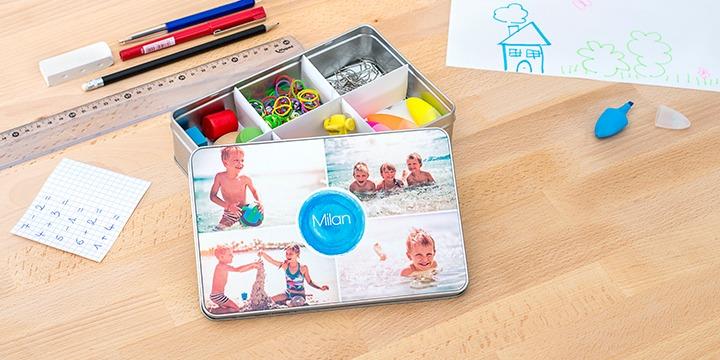 Alubox personalisiert mit Text und Foto als Geschenk für gut organisierte Lehrer