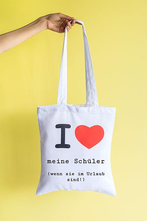 Einkaufstasche personalisiert mit witzigem Text als Geschenk für Lehrer