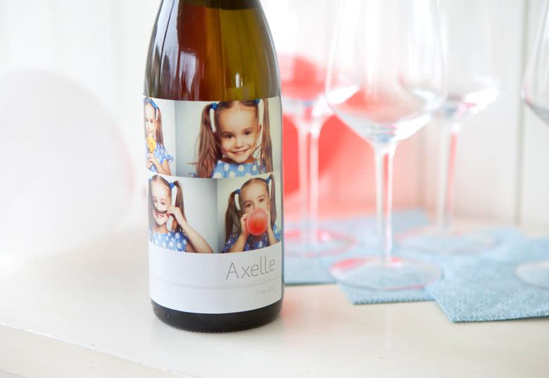 Weinflasche mit personalisiertem Flaschenetikett als Geschenk für Lehrer