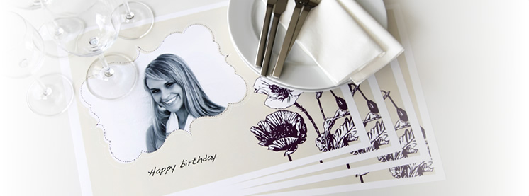 Sets de table personnalisés en papier avec photo