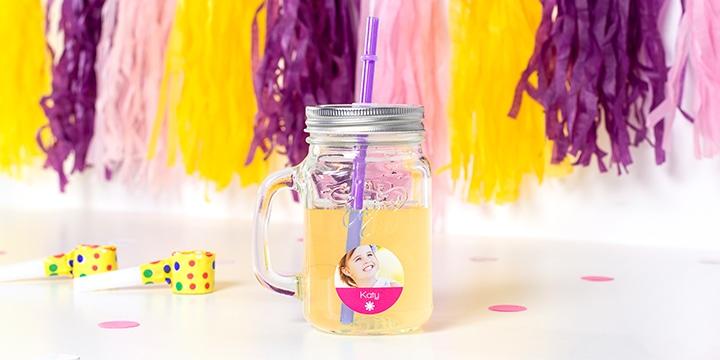 Verre à cocktail Mason Jar avec sticker prénom personnalisé