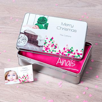 Boîte à biscuits personnalisée rectangulaire avec cadeau