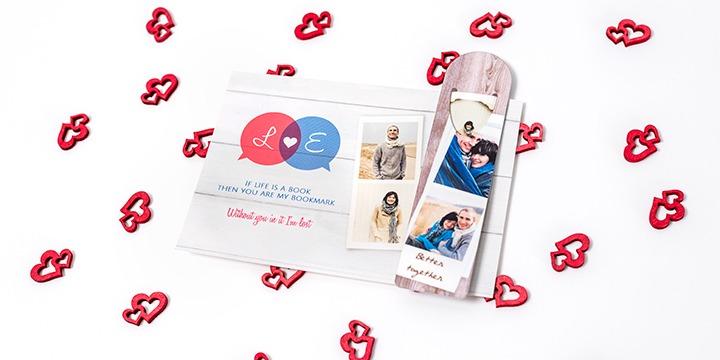 Valentinstags-Karte mit Buchzeichen