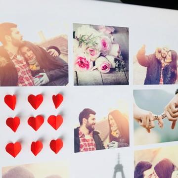 Poster pêle-mêle Saint -Valentin avec coeurs